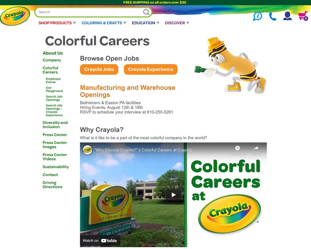 crayola career page