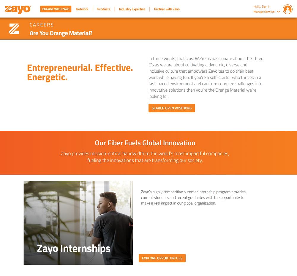 zayo career page