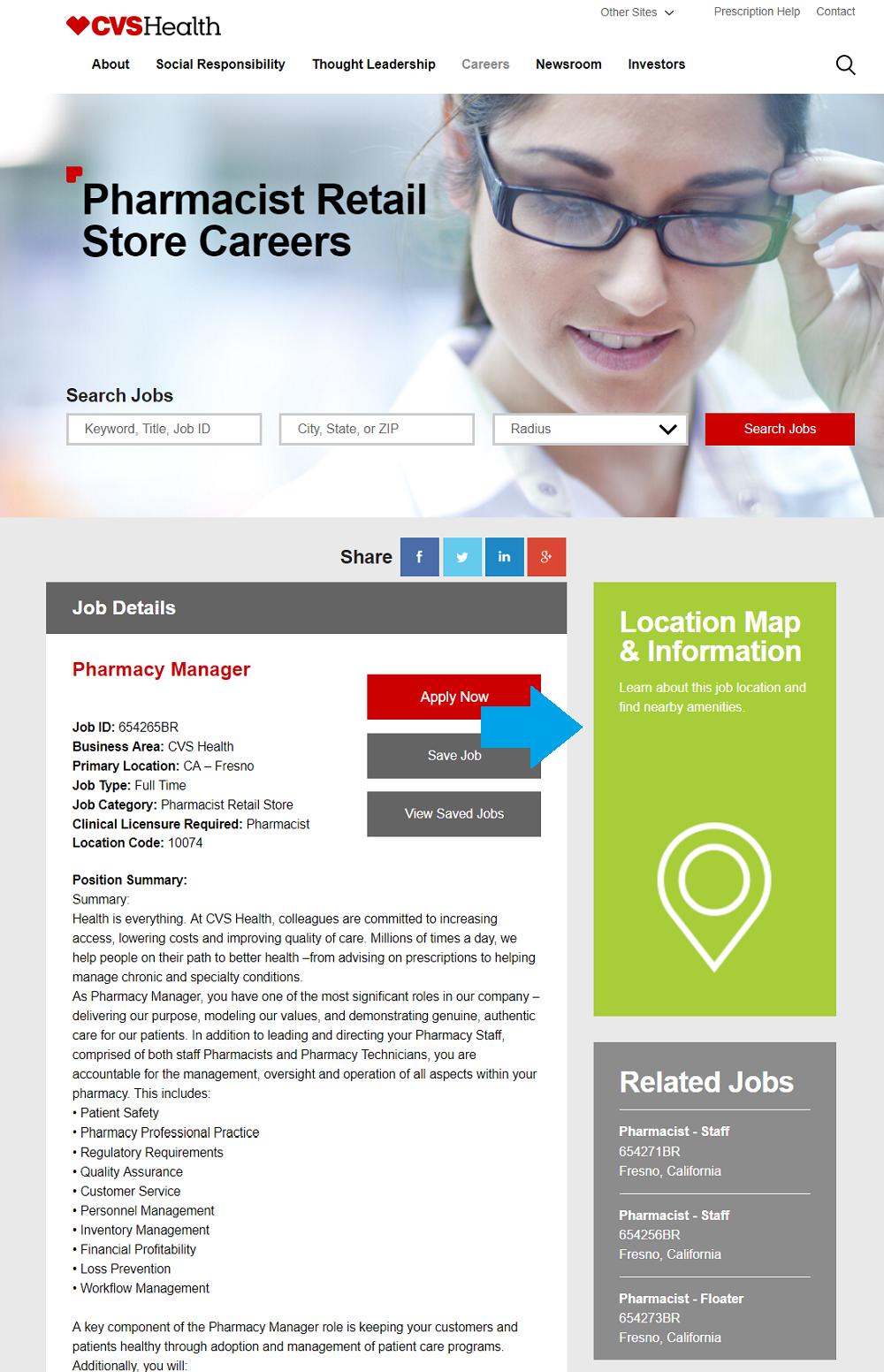 CVS job description with map widget