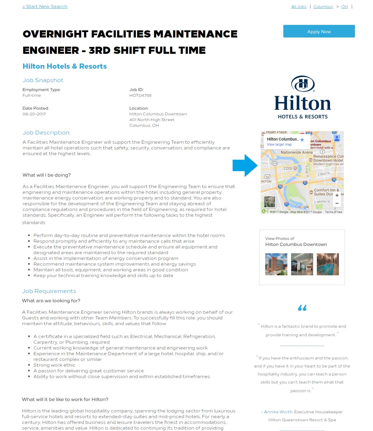Map on Hilton Job Description