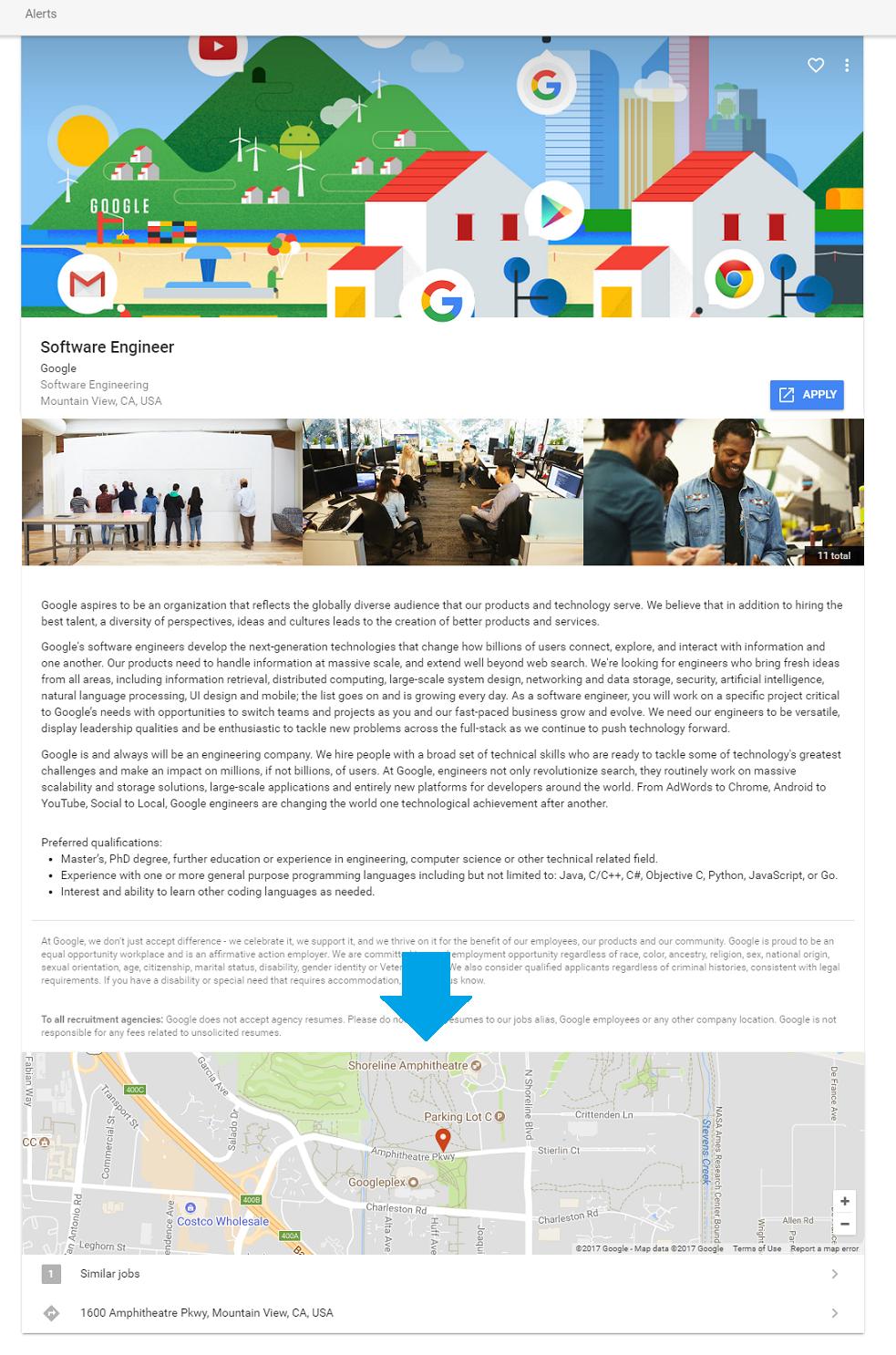 Map on Google Job Description