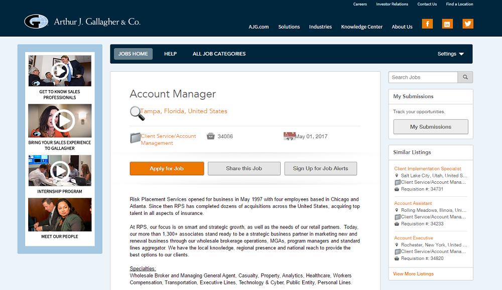 Similar Job Openings on AJG Job Descriptions