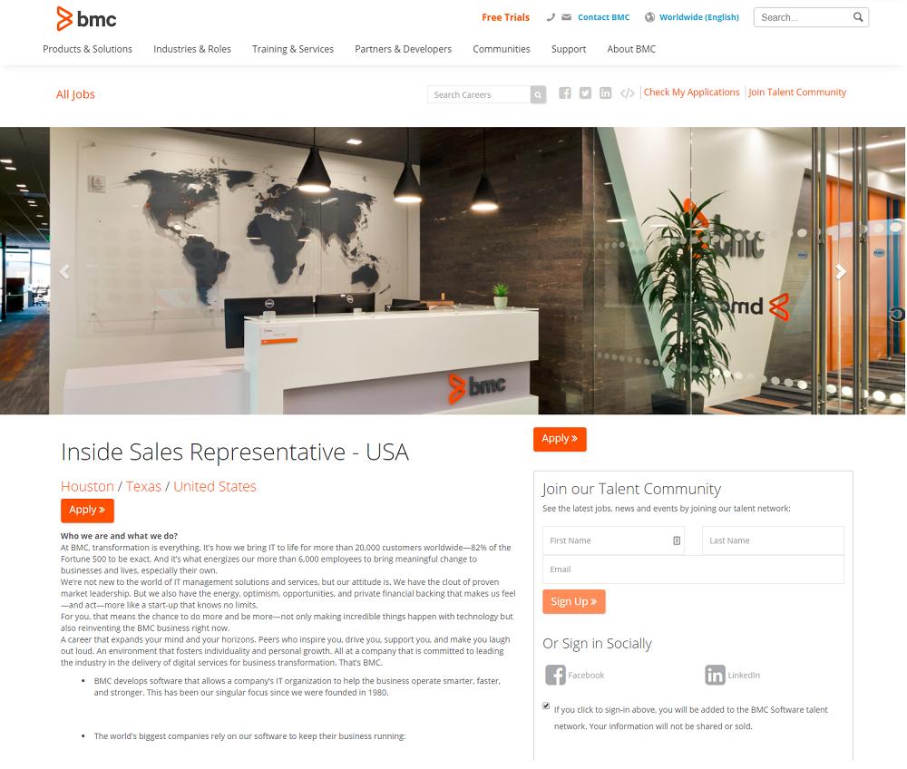 BMC Job Description with Talent Community