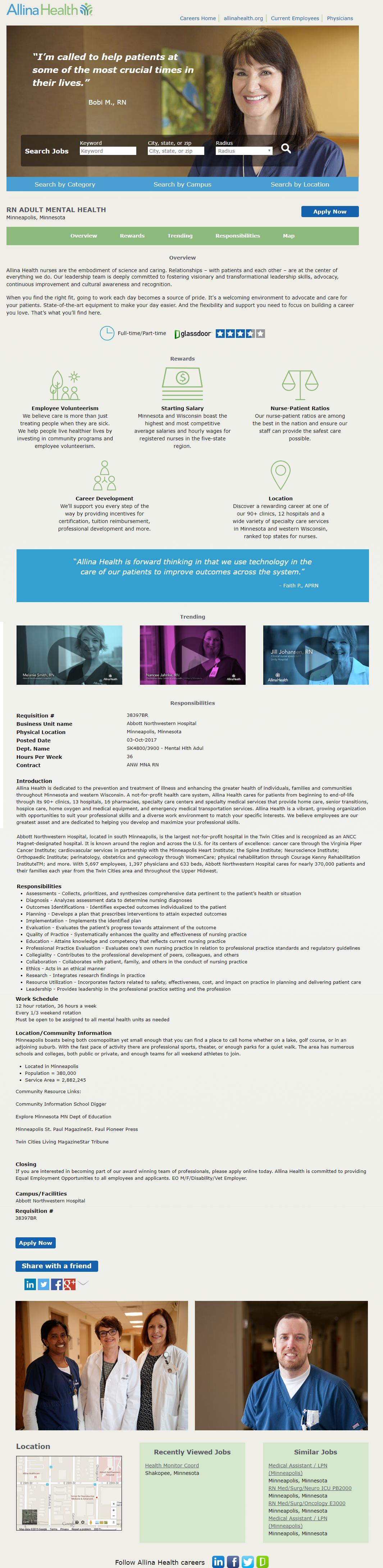 Allina Health Kenexa Brassring ATS Job Page