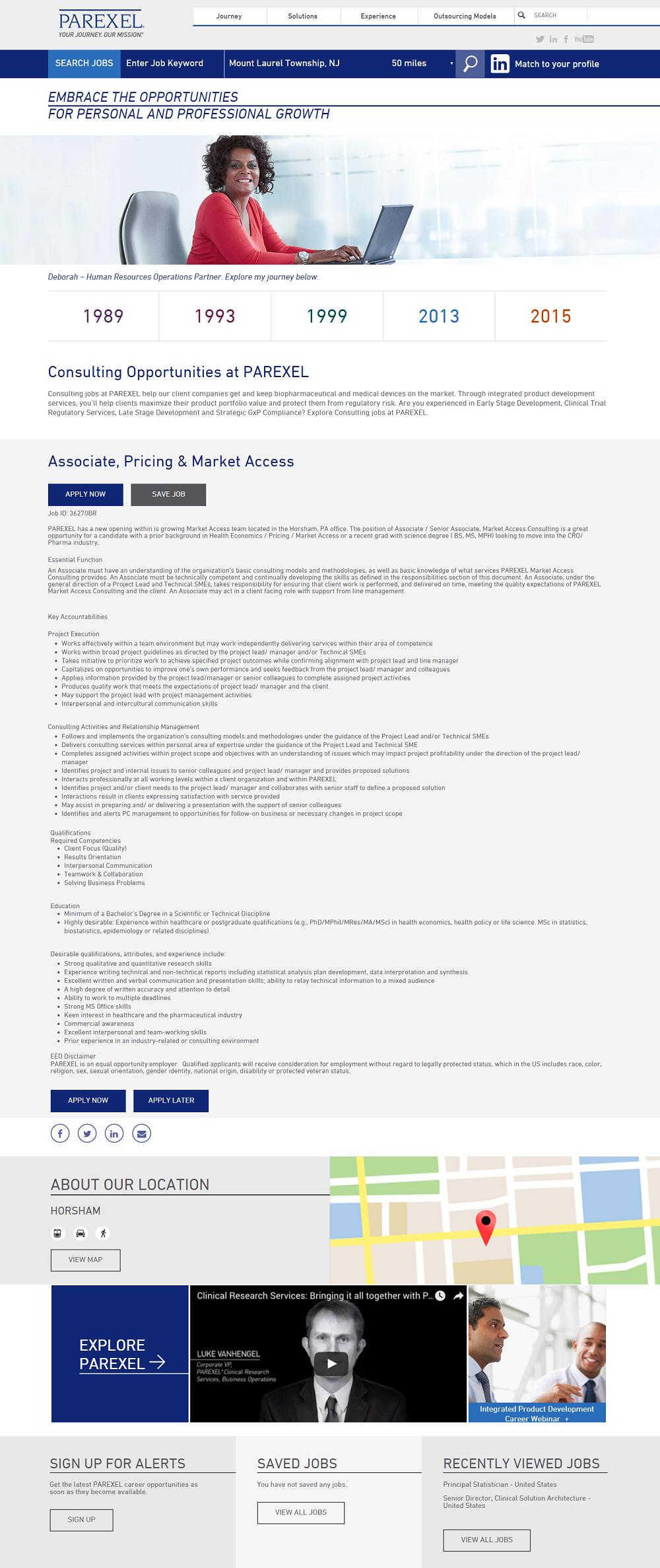 Parexel Brassring ATS Job Page
