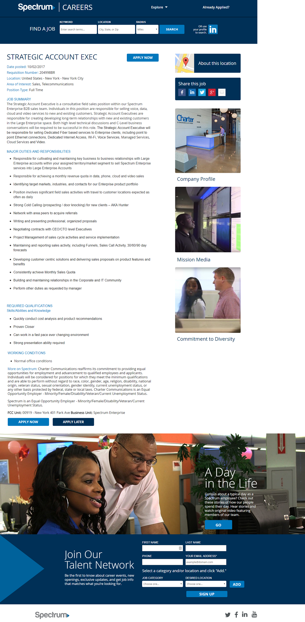 Spectrum Kenexa Brassring ATS Job Page