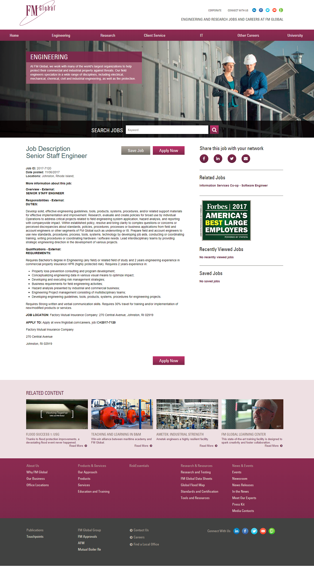 FMGlobal iCims ATS Job Description Page