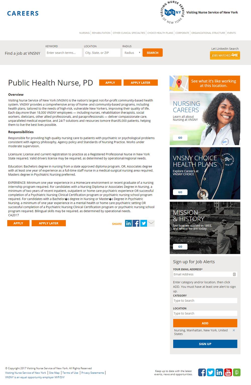 Visiting Nurse Service iCims Job Description Page