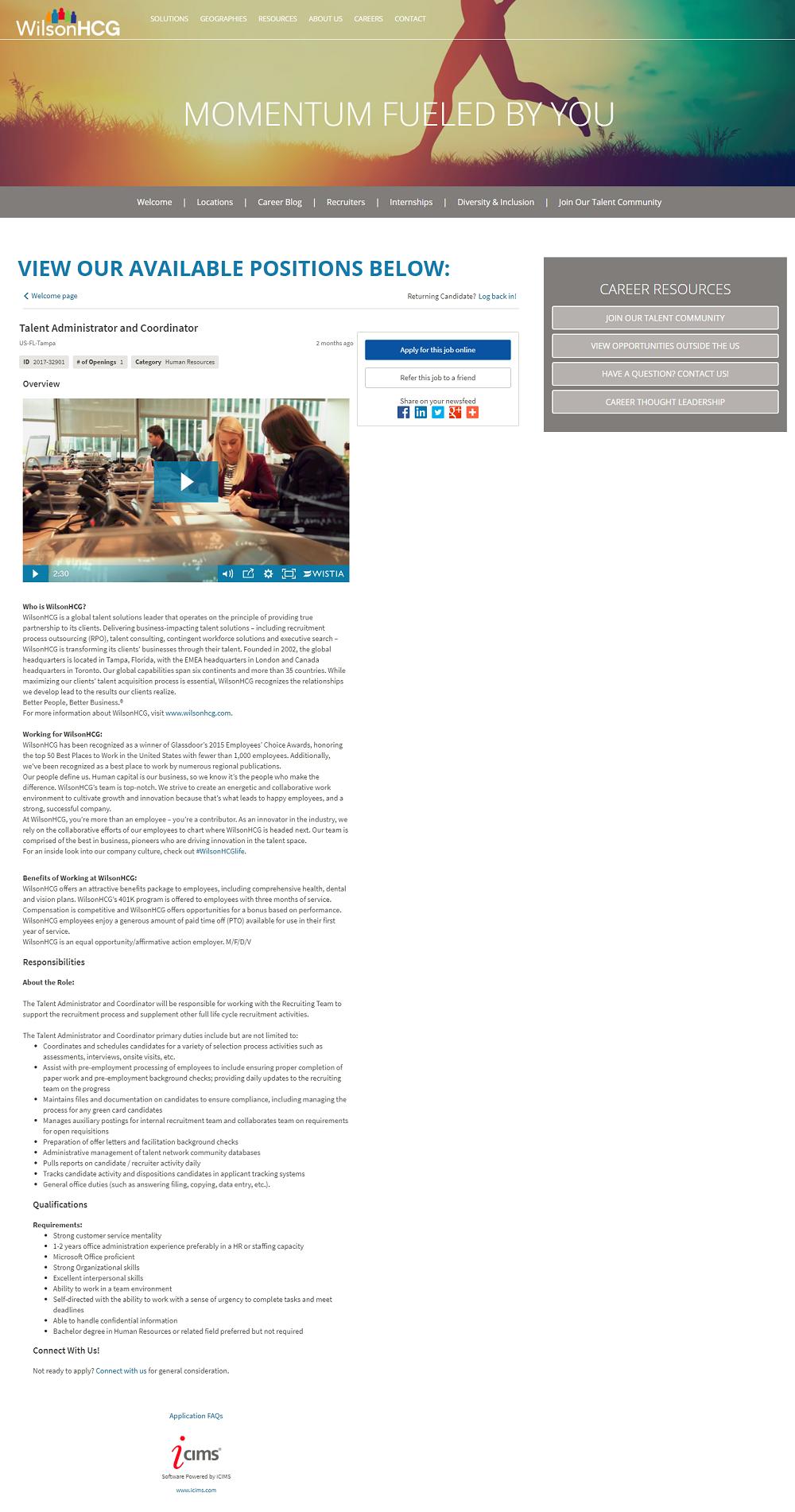 WilsonHCG iCims ATS Job Description Pages