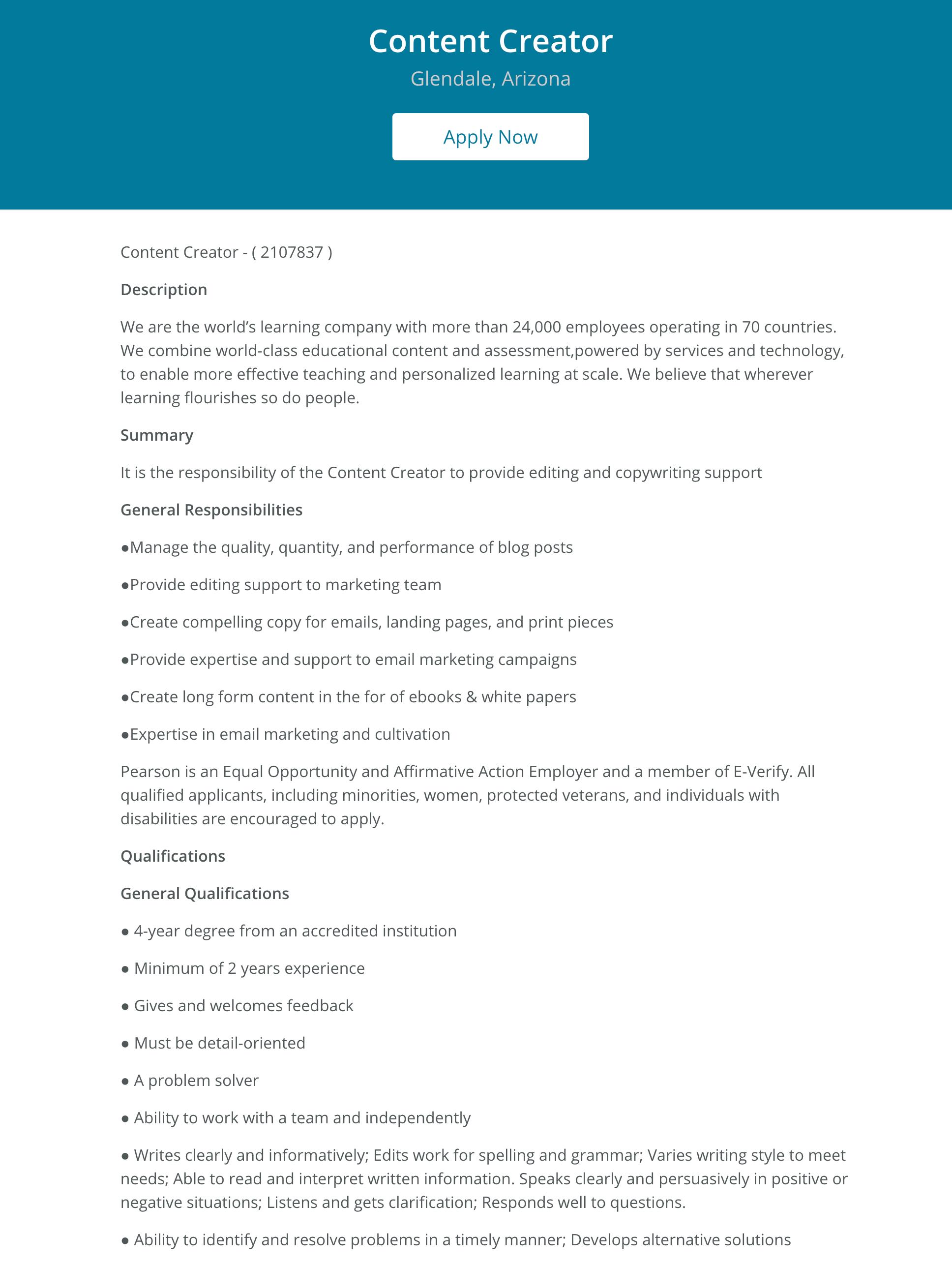 content creator job description