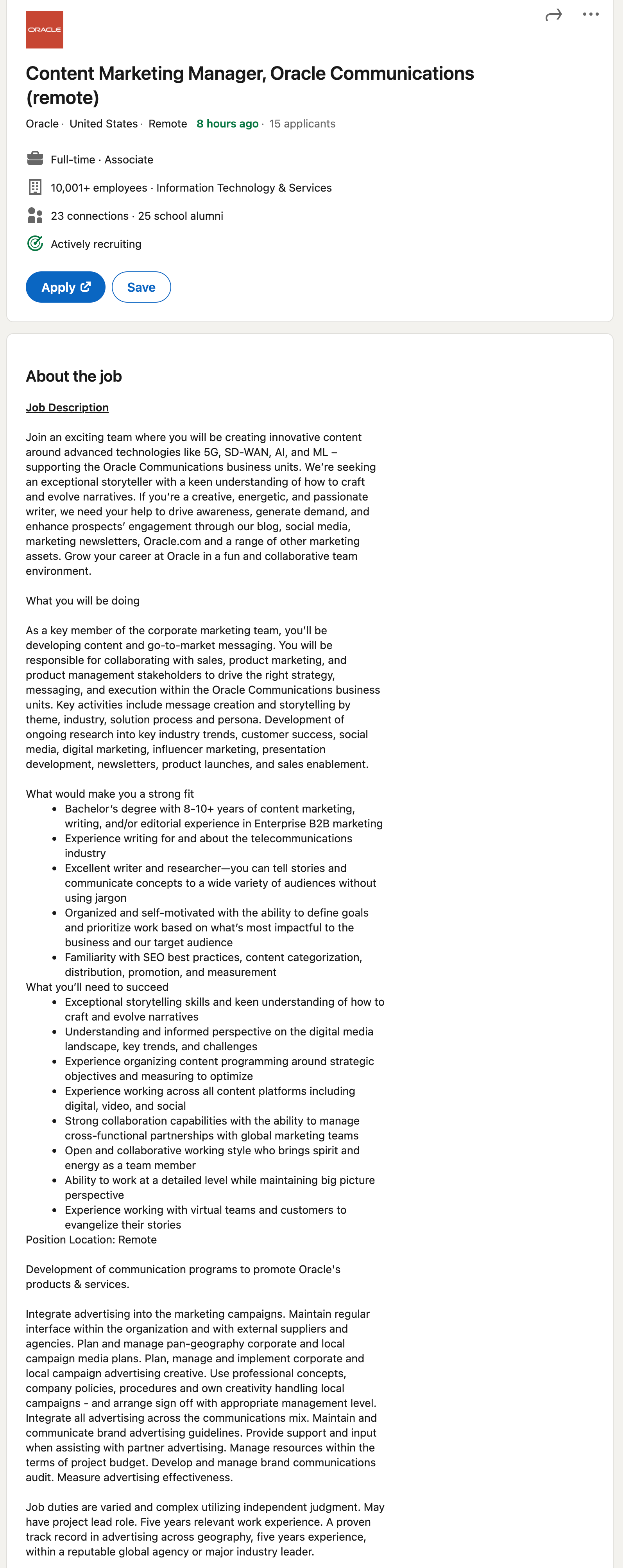 content marketing manager job description