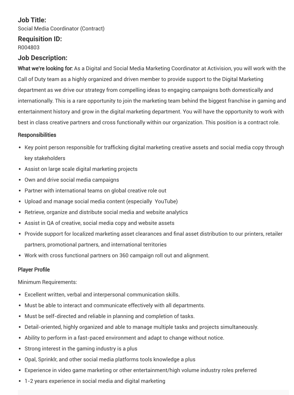 job description social media coordinator-activision