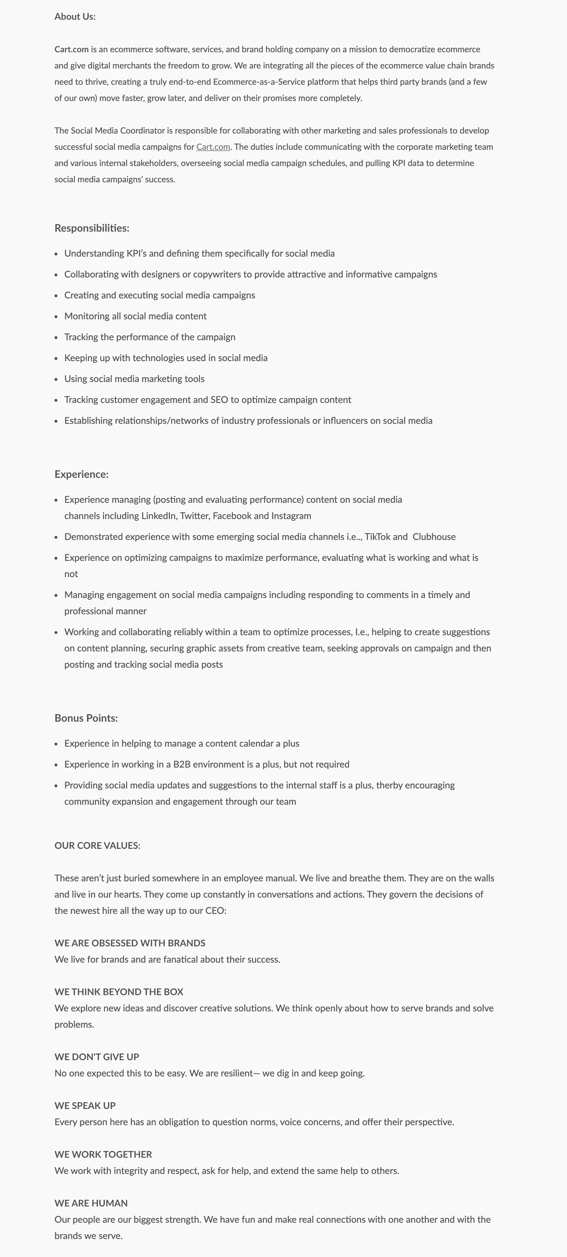 sample job description social media coordinator-cart