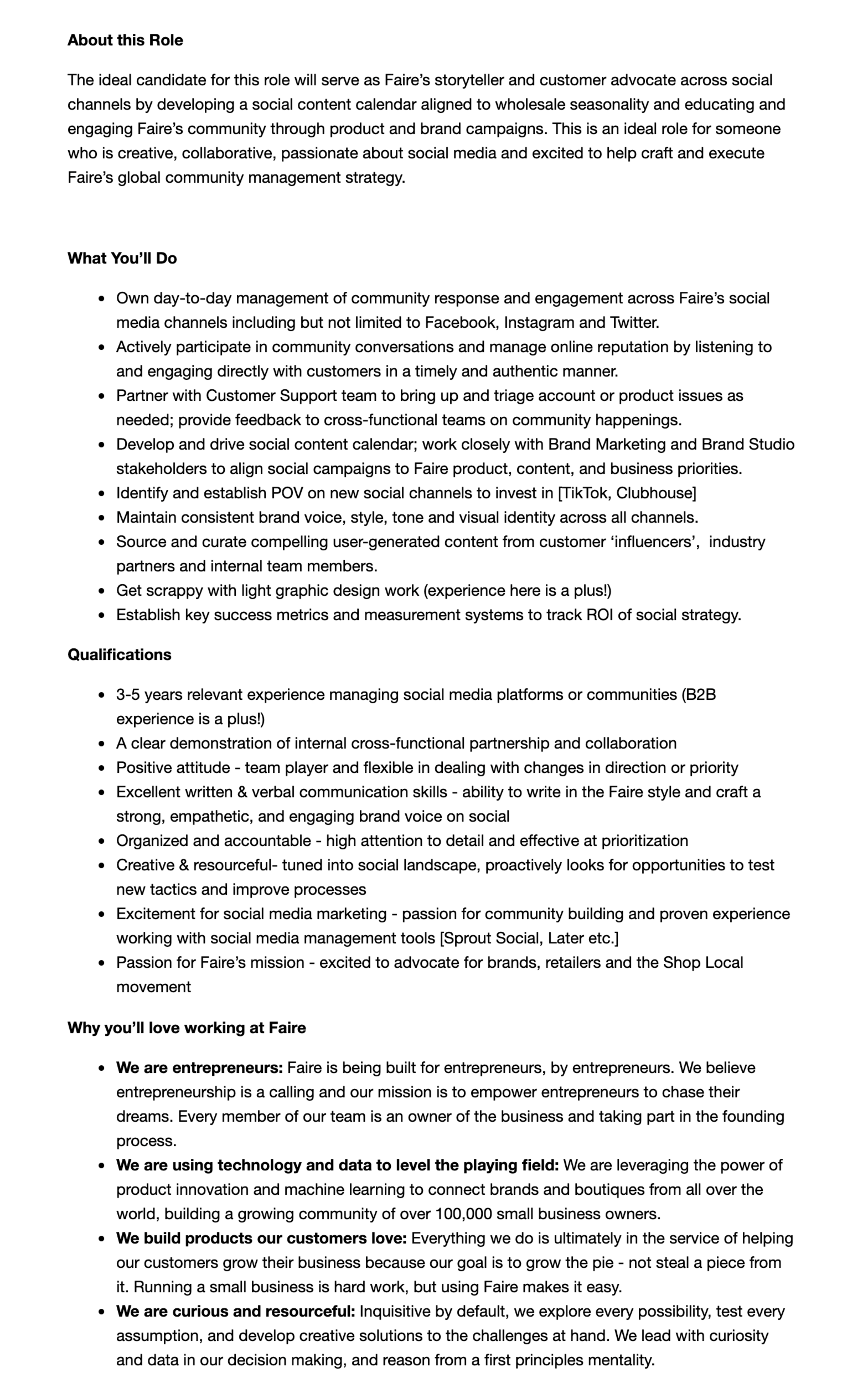 sample job description social media coordinator-faire
