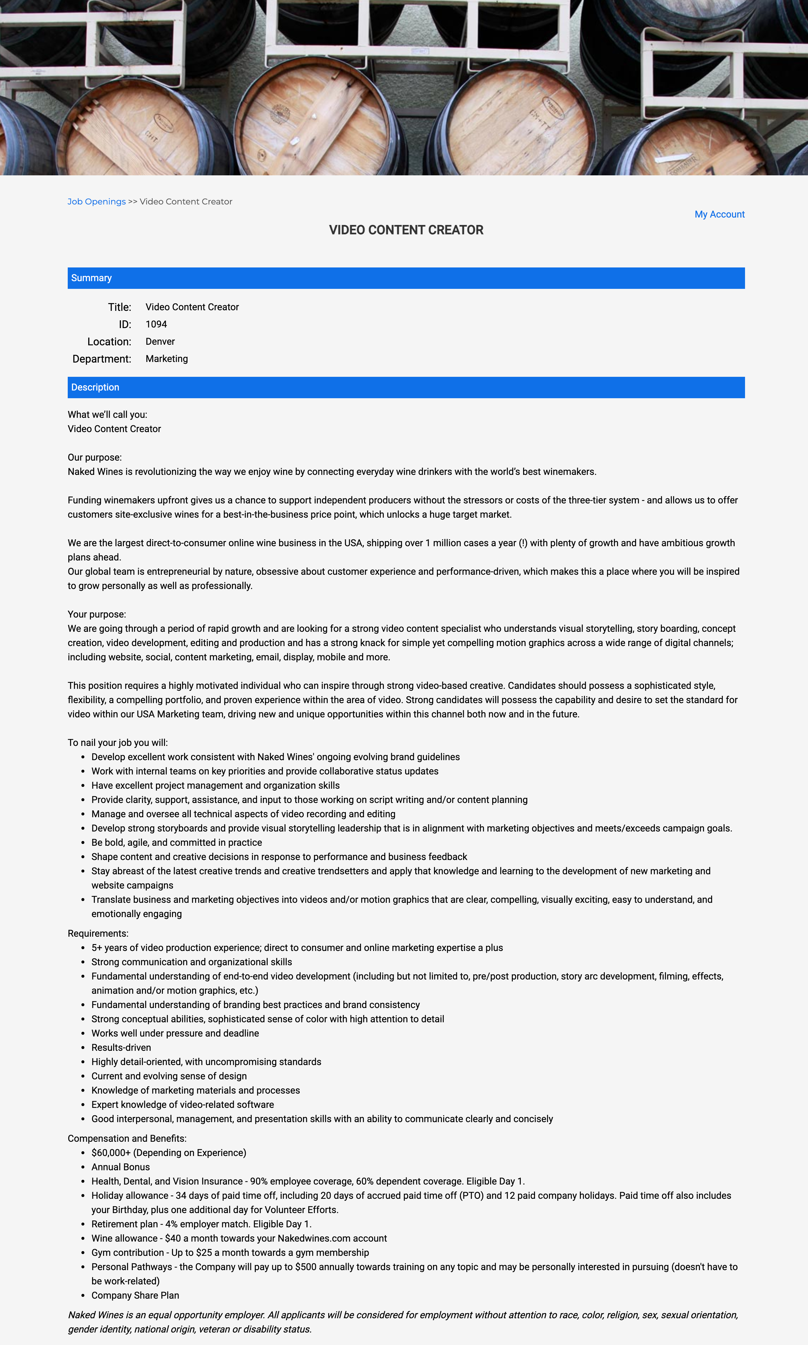 video content creator job description