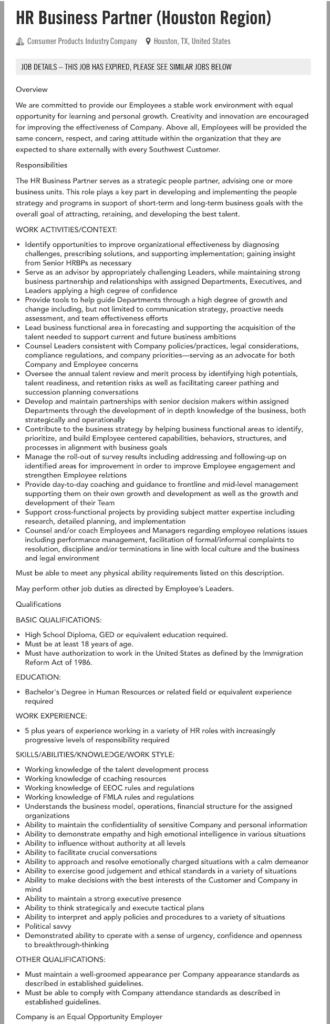 hr business partner job description southwest airlines