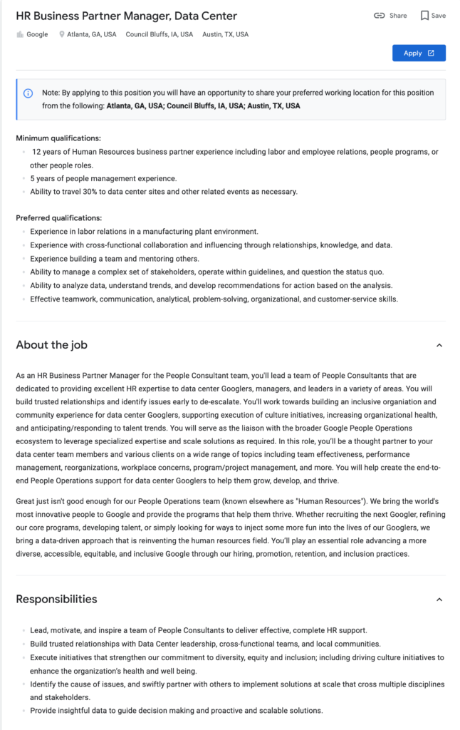 HRBP manager job description   google