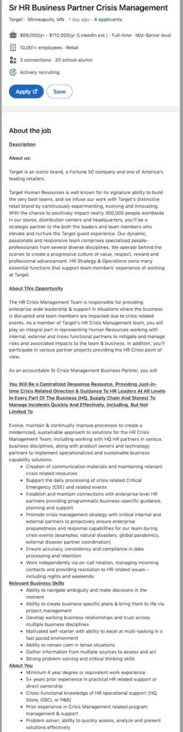 senior human resources business partner job description