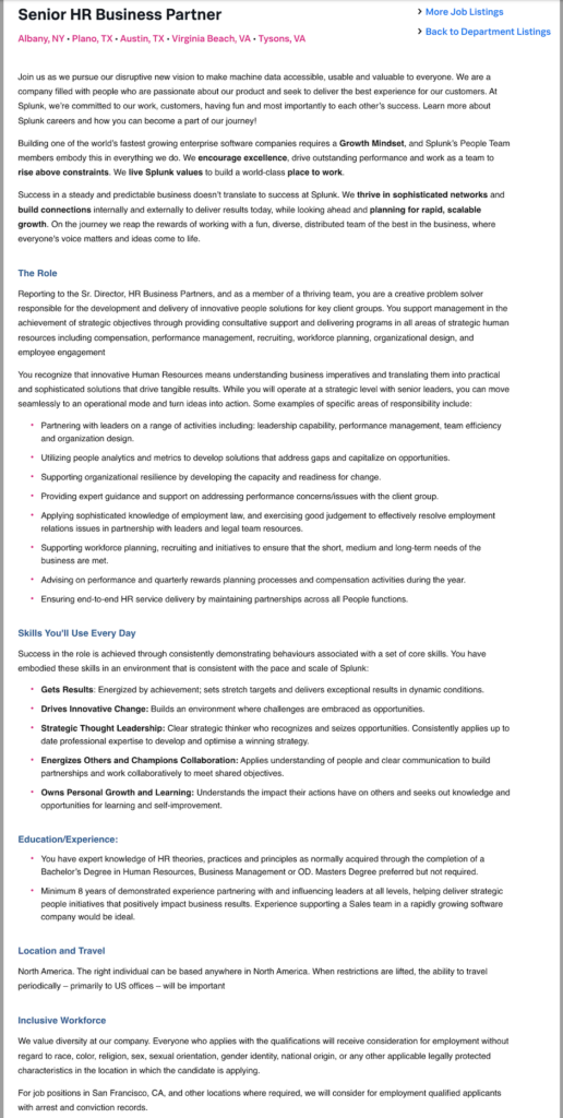 splunk sr hr business partner job description