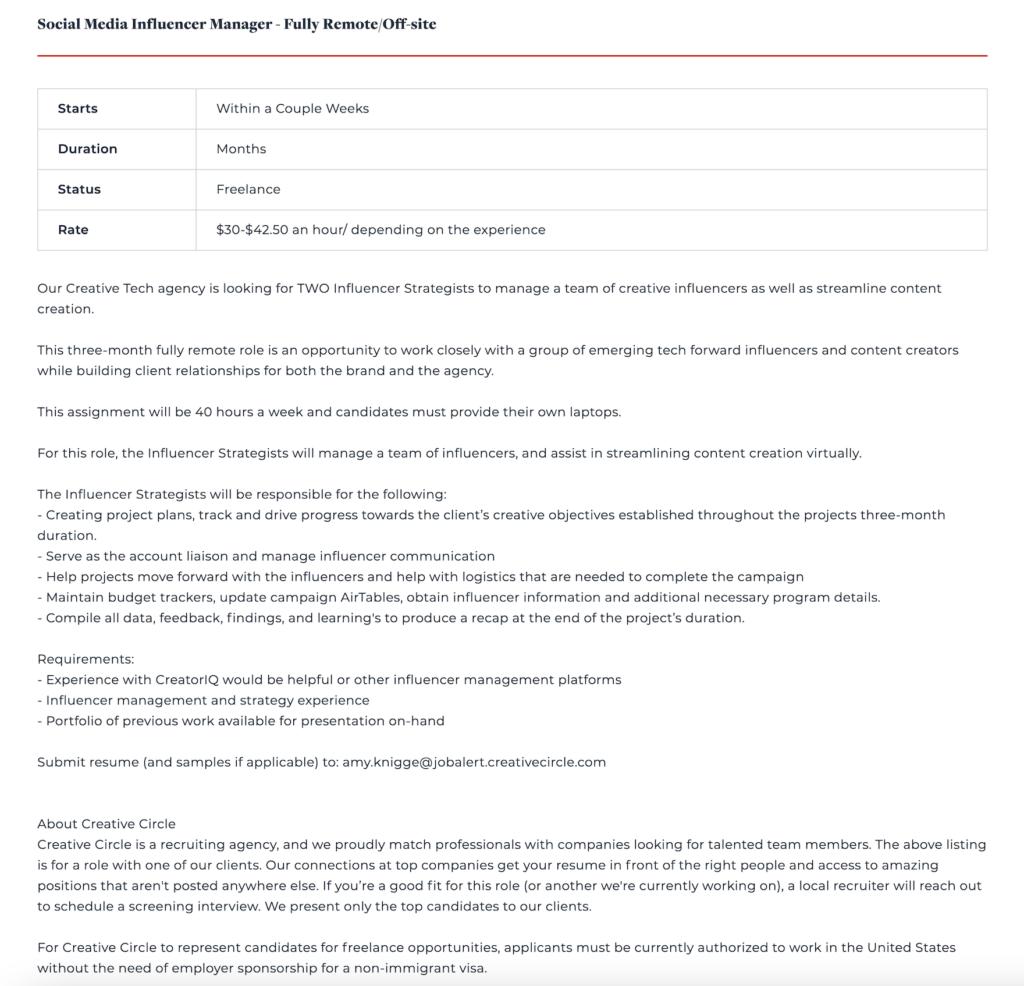 influencer manager job description