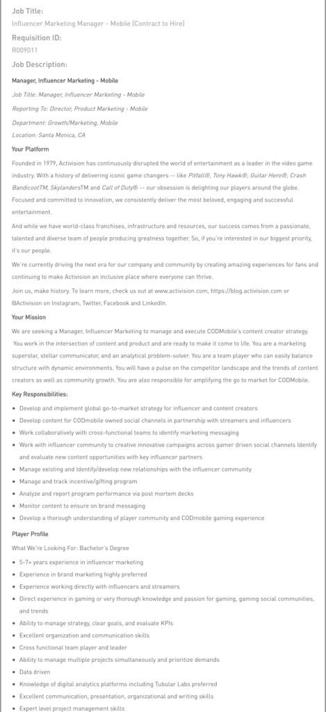 influencer marketing manager job description