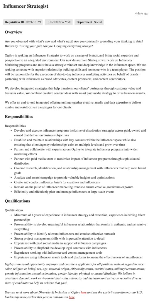 influencer strategist job description